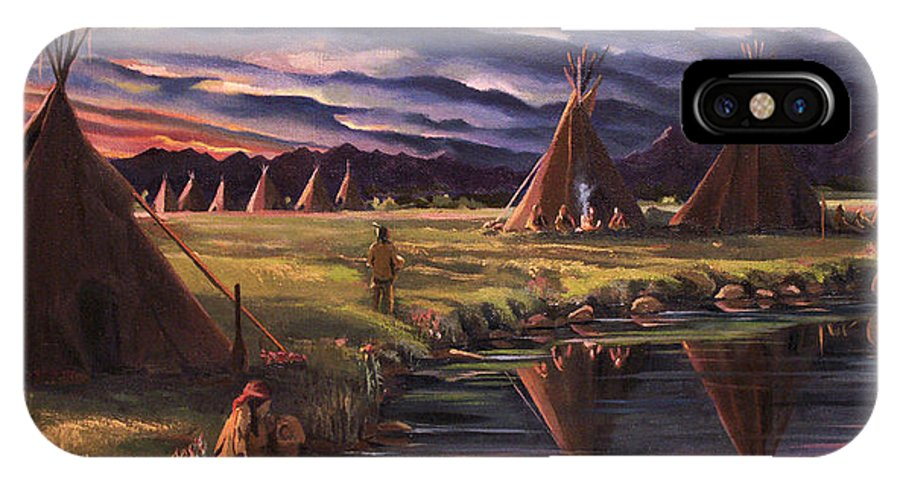 Native American IPhone X Case featuring the painting Encampment At Dusk by Nancy Griswold