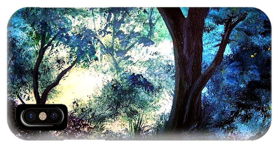 Landscape IPhone X Case featuring the painting Enchanted Forest by Sherri Patterson