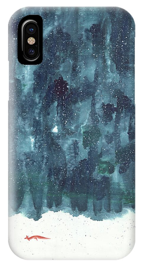 A Red Fox Traveling On A Snowy Day. It Is A Contemporary Chinese Brush Painting On Rice Paper.  IPhone X Case featuring the painting Enchanted Land by Mui-Joo Wee