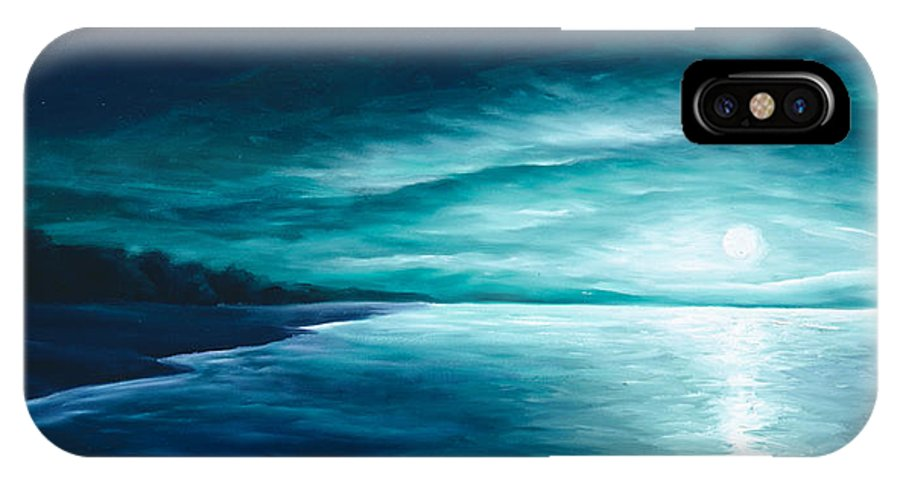 Moonscape IPhone X Case featuring the painting Enchanted Moon I by James Christopher Hill