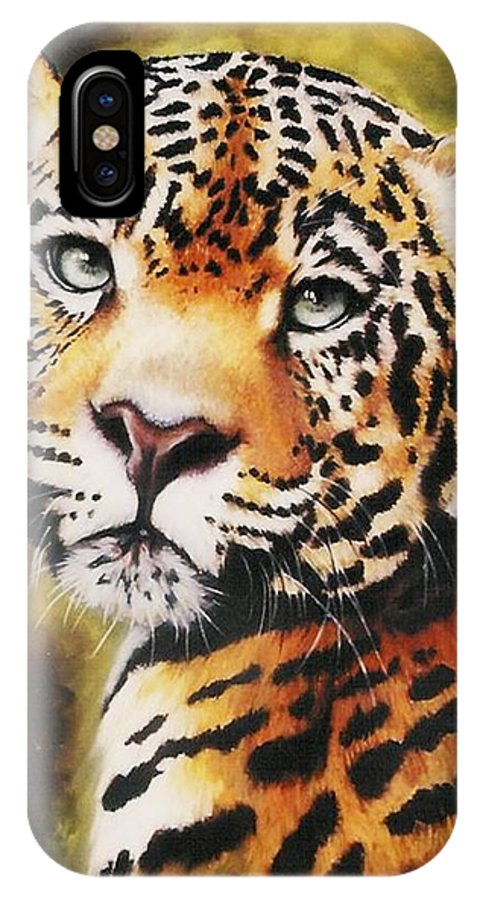 Jaguar IPhone X Case featuring the pastel Enchantress by Barbara Keith