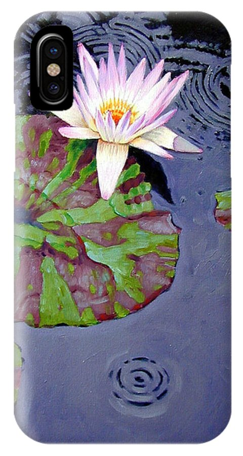 Water Lily IPhone Case featuring the painting End Of Shower by John Lautermilch