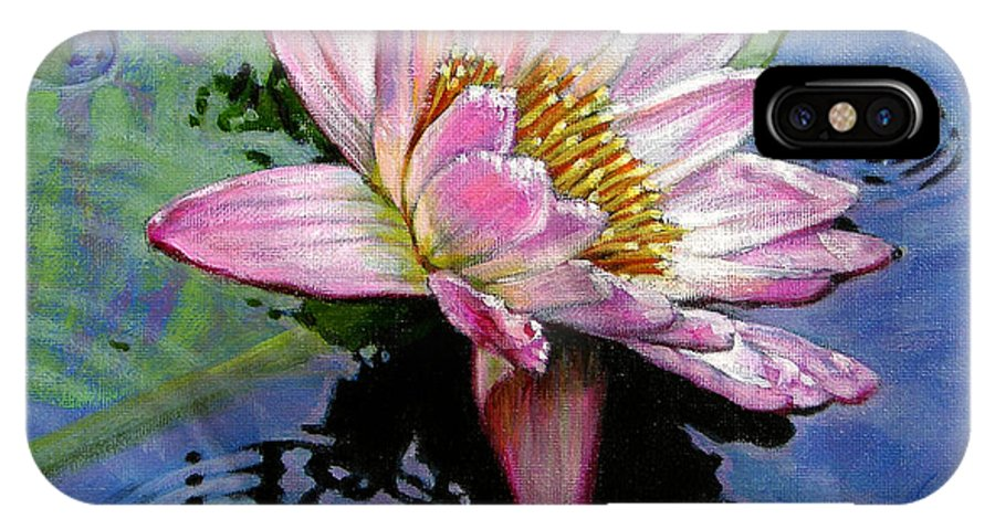 Water Lily IPhone X Case featuring the painting End Of Summer Shower by John Lautermilch