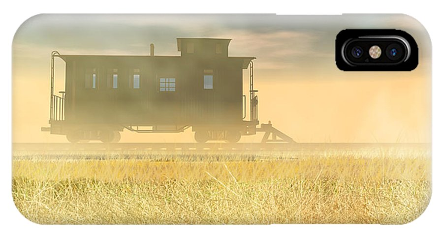 Abandoned IPhone X Case featuring the digital art End Of The Line II by Carol and Mike Werner