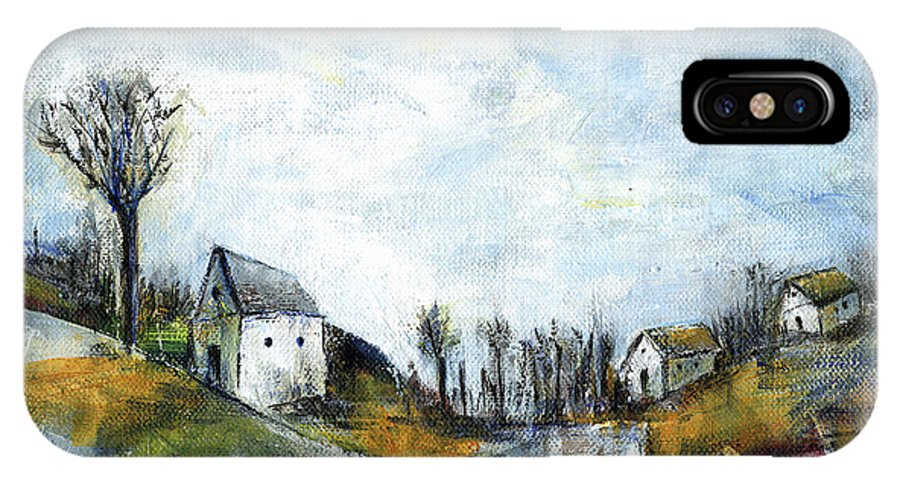 Landscape IPhone X Case featuring the painting End Of Winter - Acrylic Landscape Painting On Cotton Canvas by Aniko Hencz