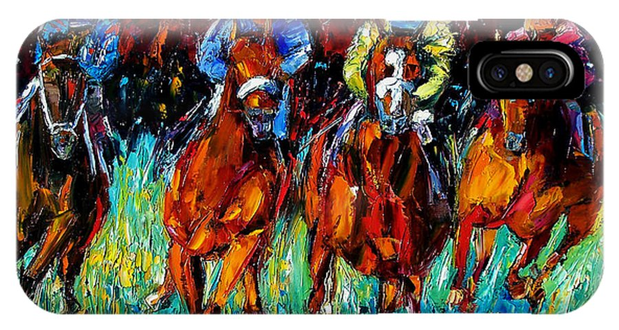 Horse Race IPhone X Case featuring the painting Endurance by Debra Hurd