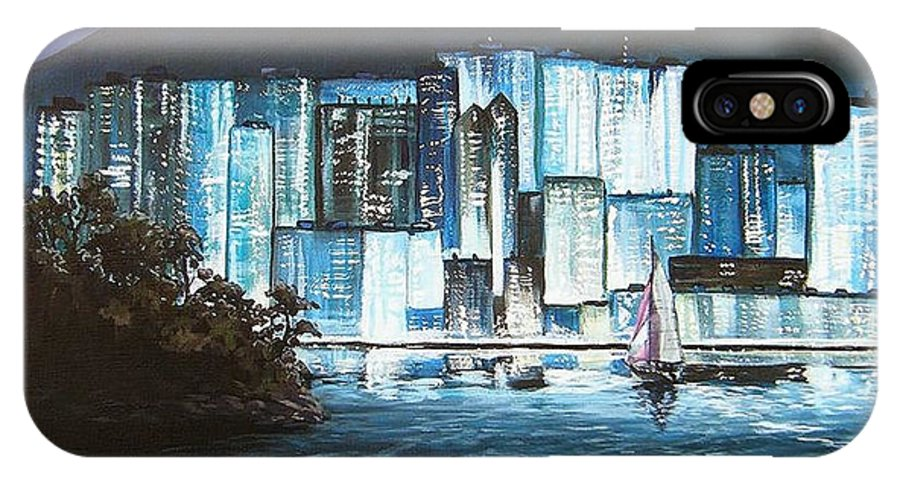 City IPhone Case featuring the painting Energetic Blue by Mona Davis