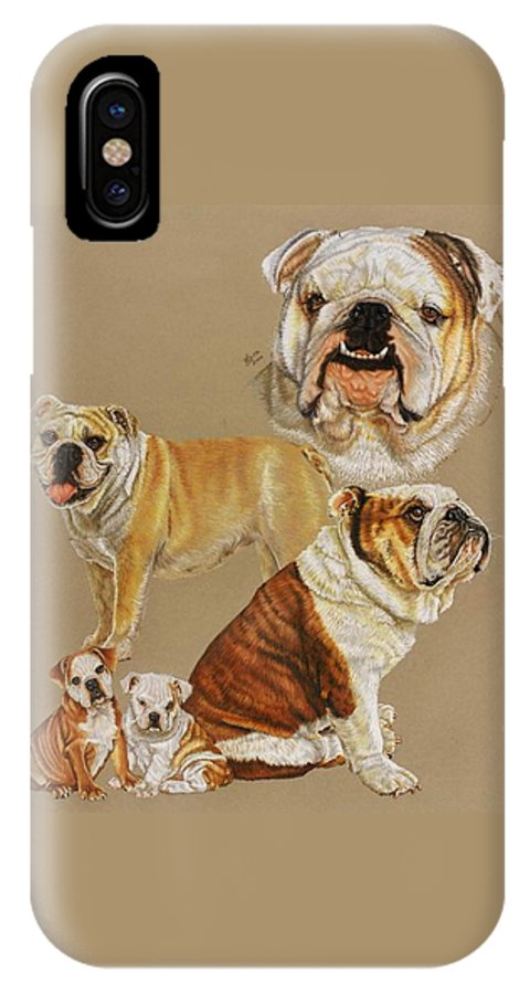Purebred IPhone X Case featuring the drawing English Bulldog by Barbara Keith