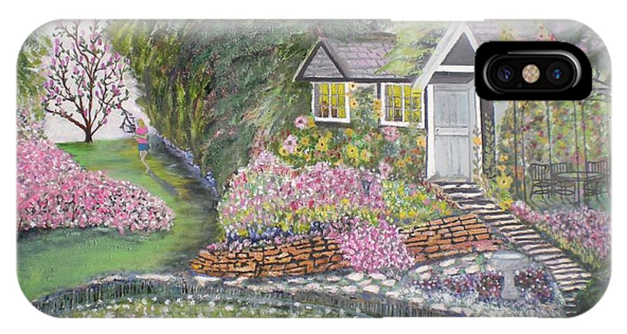 Cottage IPhone Case featuring the painting English Cottage by Hal Newhouser