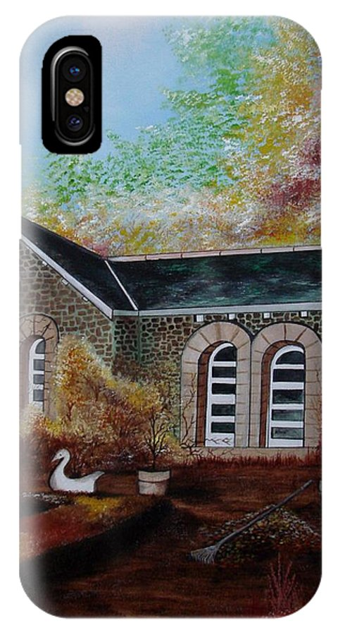 Autmn IPhone X Case featuring the painting English Cottage In The Autumn by Glory Fraulein Wolfe