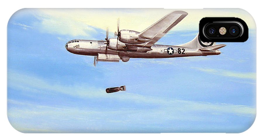 Military IPhone X Case featuring the painting Enola Gay by Marc Stewart