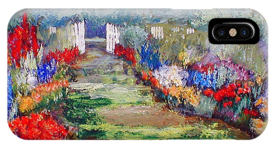 Landscape IPhone X Case featuring the painting Enter His Gates by Gail Kirtz