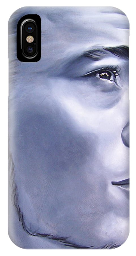 Portraiture IPhone X Case featuring the painting Ephrain by Laura Pierre-Louis