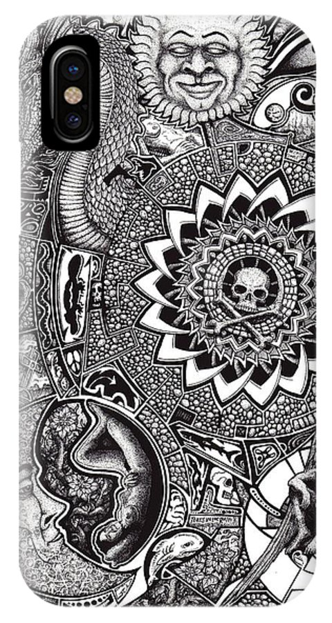 Black And White IPhone X Case featuring the drawing Epiphany by Tobey Anderson