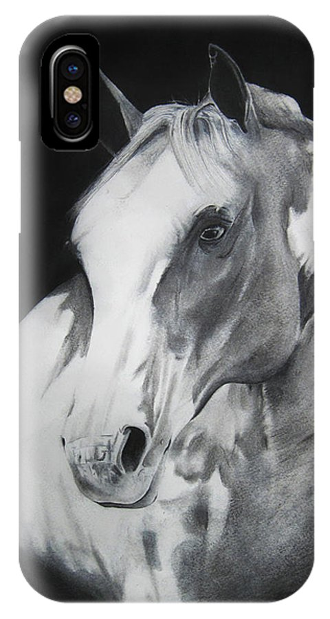 Horse IPhone X Case featuring the drawing Equestrian Beauty by Carrie Jackson