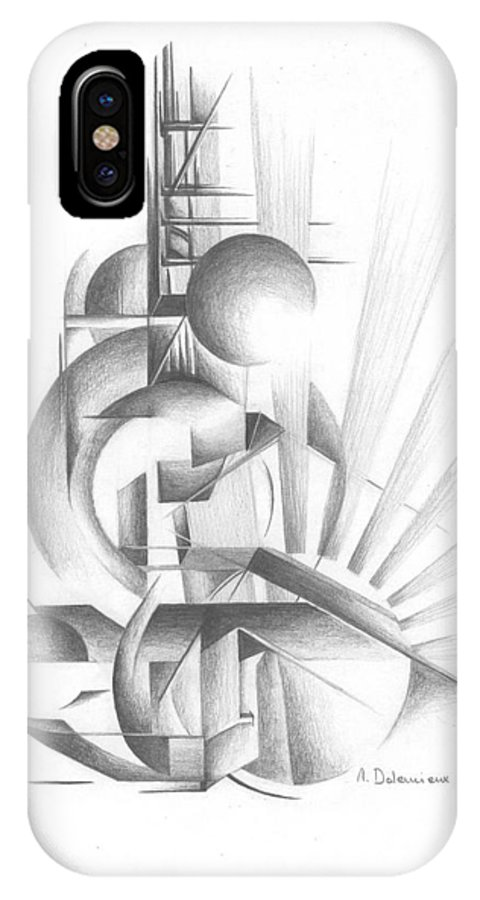 Abstract IPhone X Case featuring the drawing Equilibre by Muriel Dolemieux