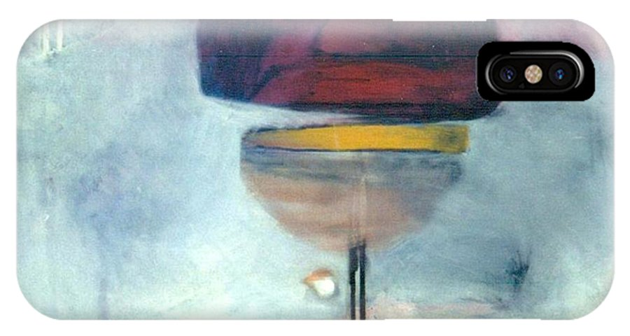 Abstract IPhone X Case featuring the painting Erev Tops Jump Shot by Marlene Burns