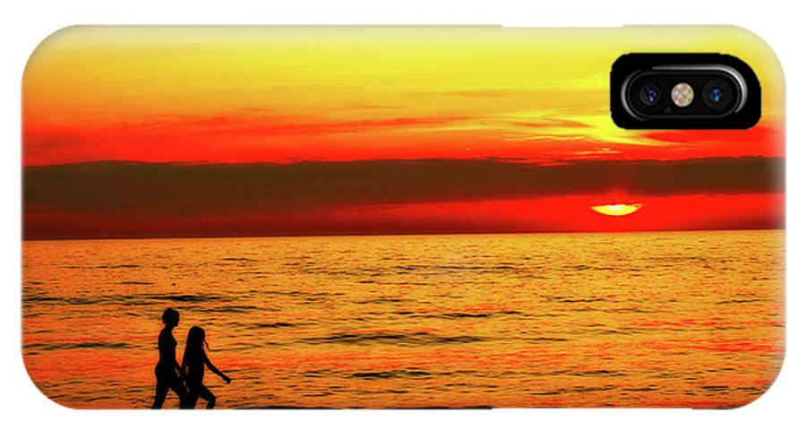 Presque Isle IPhone X Case featuring the photograph Erie Beach Sunset by Randy Steele