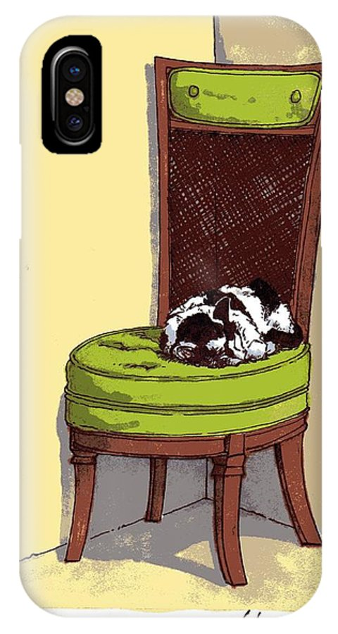 Cat IPhone X Case featuring the drawing Ernie And Green Chair by Tobey Anderson