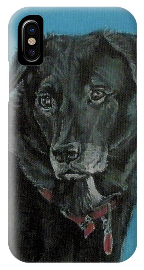 Dog IPhone X Case featuring the painting Ernie by Penny Price