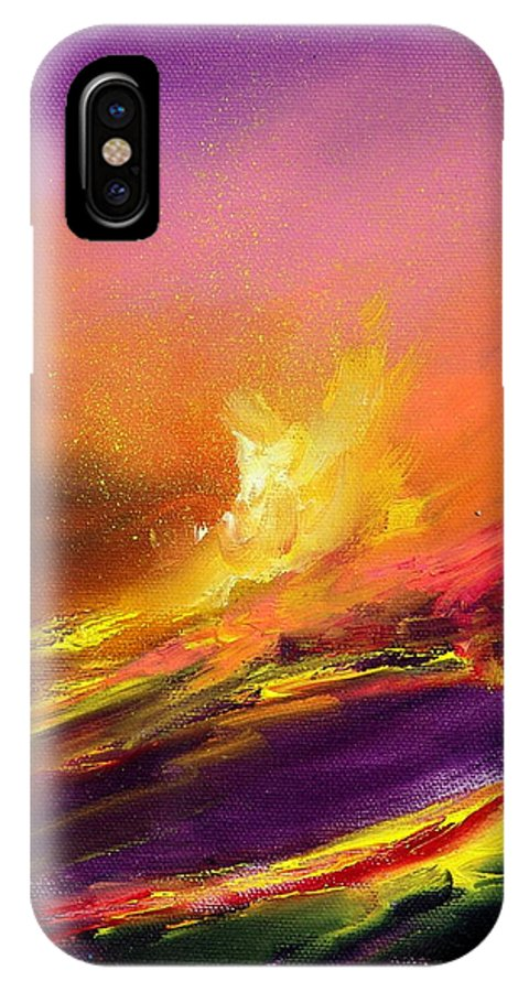 Lava IPhone Case featuring the painting Eruption By Night by Sally Seago