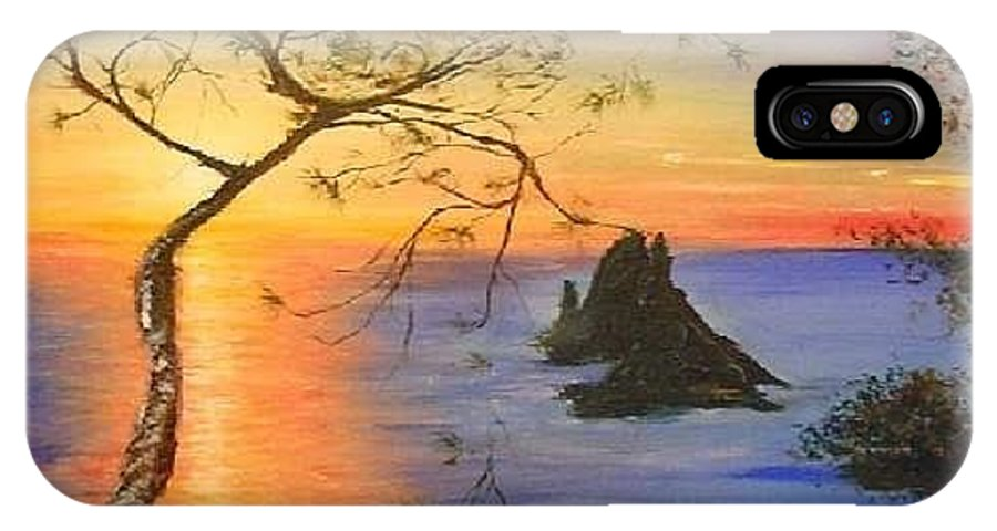 Sunset IPhone X Case featuring the painting Es Vedra Island Off Ibiza South Coast by Lizzy Forrester