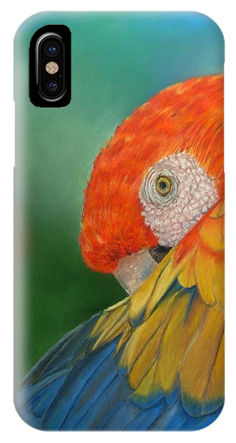 Bird IPhone X Case featuring the painting Escondida by Ceci Watson