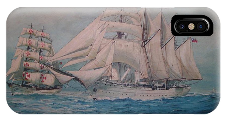 Sea Scape IPhone Case featuring the painting Esmerelda And The Sagres Tall Ships by Perrys Fine Art