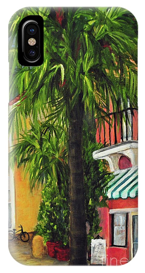 South IPhone X Case featuring the painting Espanola Way In Sobe by Carolyn Shireman