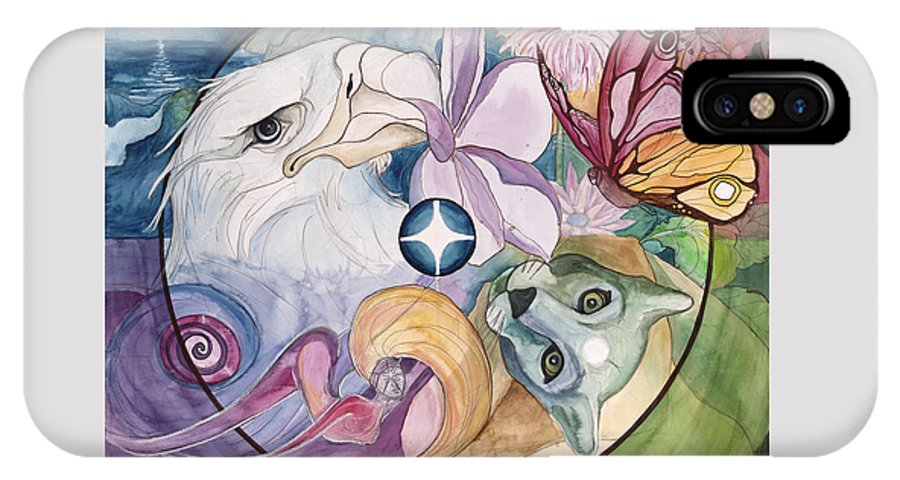 Wildlife IPhone X Case featuring the painting Essence Wheel by Kimberly Kirk