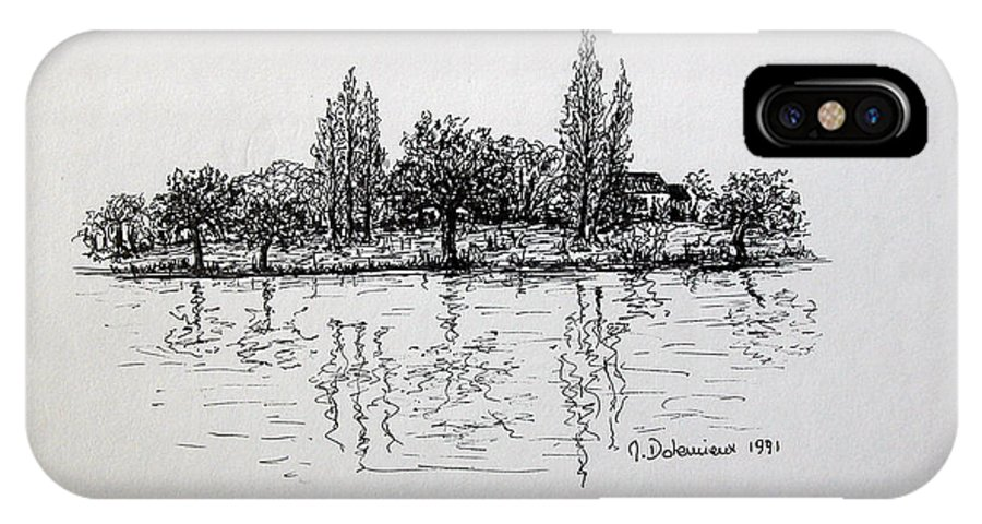 Landscape IPhone Case featuring the drawing Etang by Muriel Dolemieux