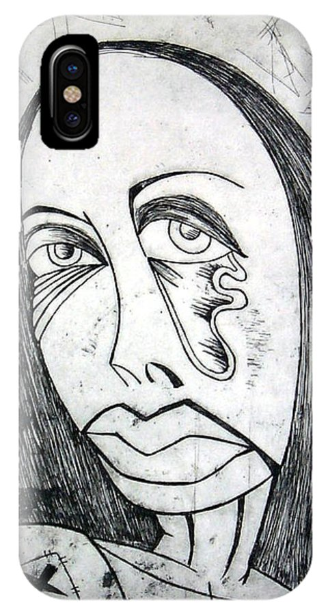 Girl IPhone X Case featuring the print Etching by Thomas Valentine