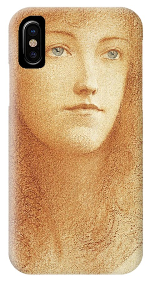 Fernand Khnopff IPhone X Case featuring the drawing Etude Anglaise by Fernand Khnopff