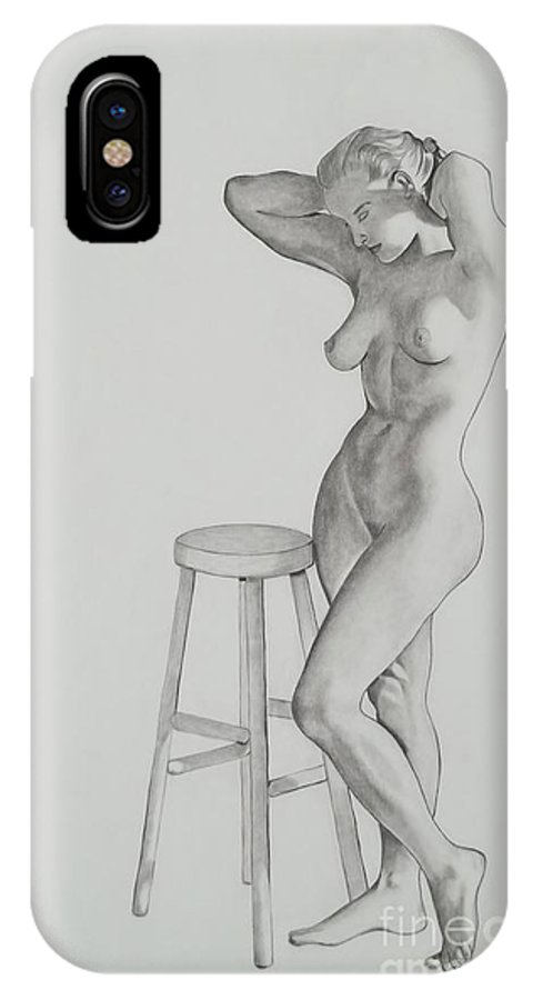 Study Of Nude Women IPhone X Case featuring the drawing Etude De Nu by Lise PICHE