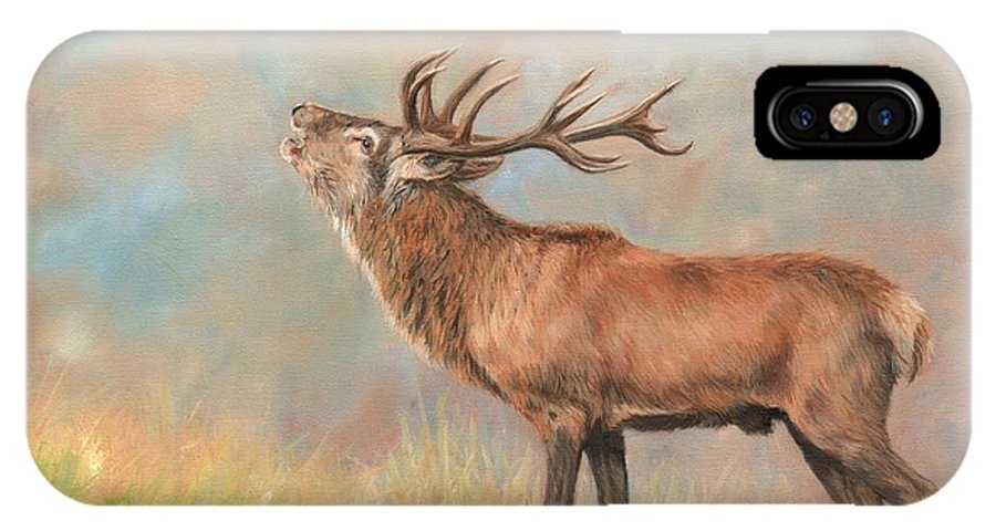 Red Deer IPhone X Case featuring the painting European Red Deer by David Stribbling