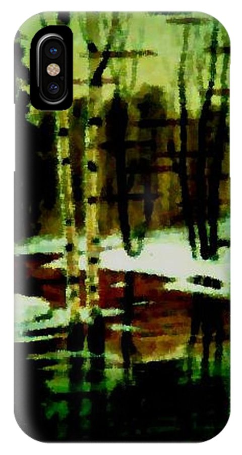 Sprig.forest.snow.water.trees.birches. Puddles.sky.reflection. IPhone X Case featuring the digital art European Spring by Dr Loifer Vladimir