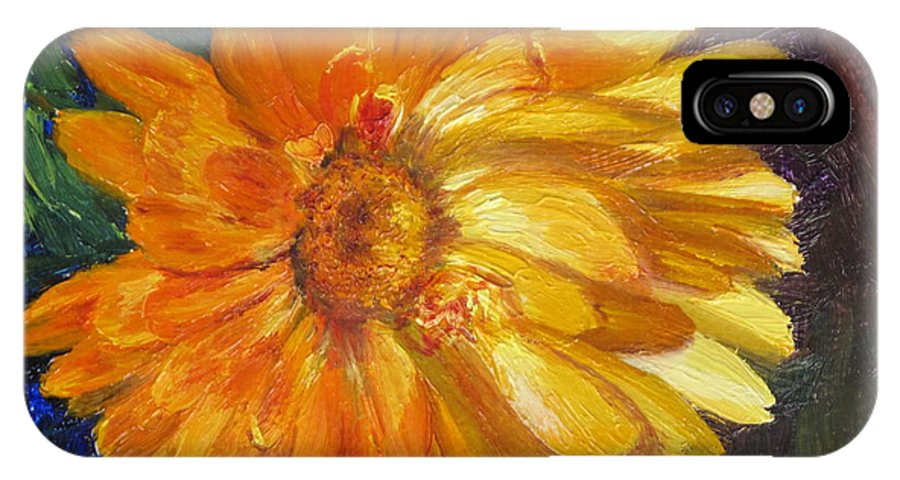Flower Painting IPhone X Case featuring the painting Even The Flowers In Autumn Are Golden by Lea Novak