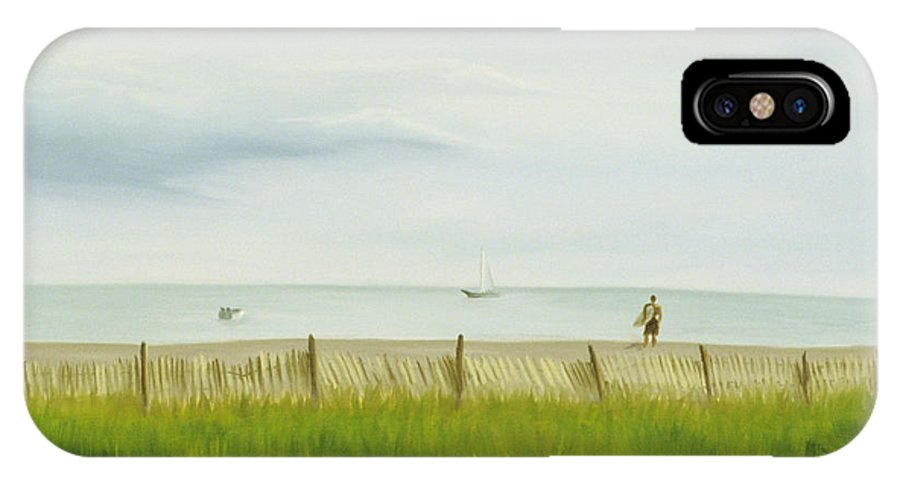 Seascape IPhone Case featuring the painting Evening At Cape May by Lea Novak