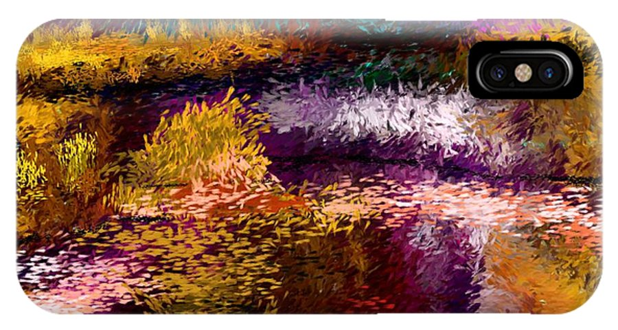 Abstract IPhone X Case featuring the digital art Evening At The Pond by David Lane