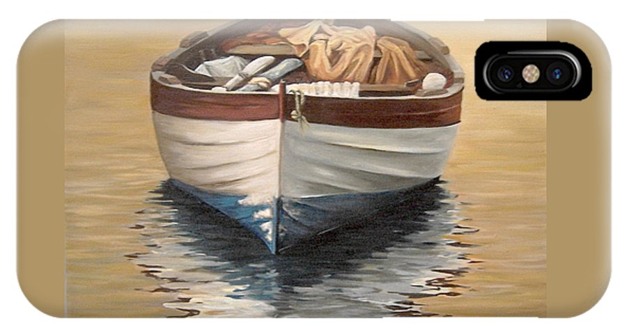 Boats Reflection Seascape Water IPhone X Case featuring the painting Evening Boat by Natalia Tejera