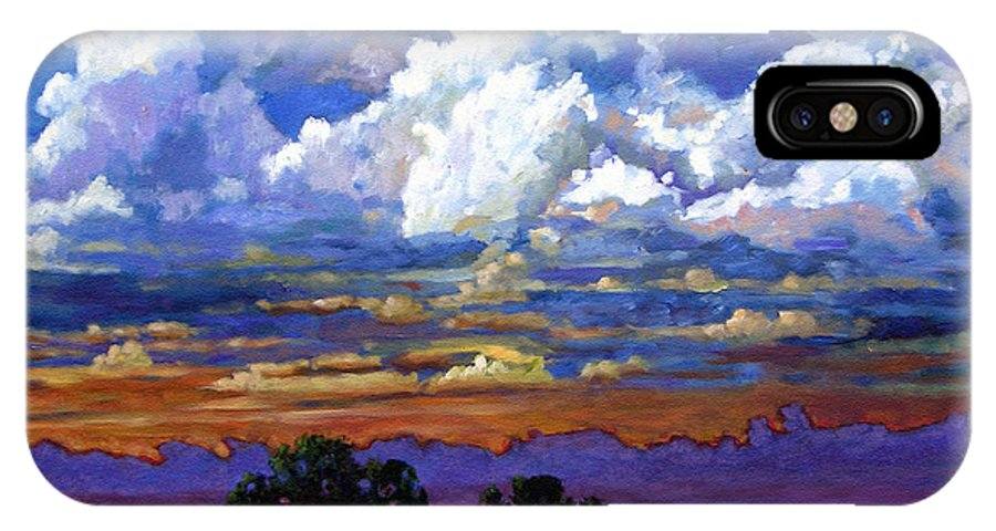 Landscape IPhone X Case featuring the painting Evening Clouds Over the Prairie by John Lautermilch