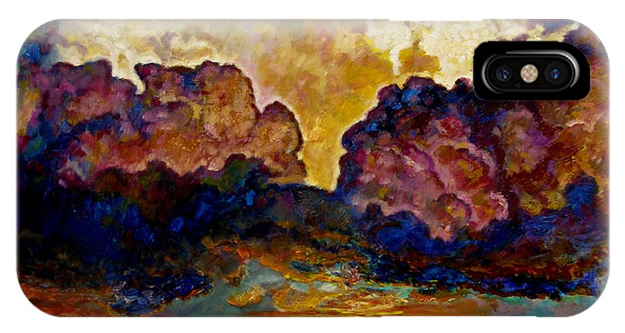 Sunset IPhone Case featuring the painting Evening Clouds Over The Valley by John Lautermilch