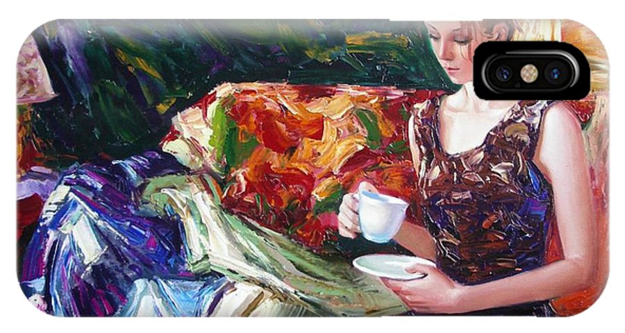 Figurative IPhone X Case featuring the painting Evening coffee by Sergey Ignatenko