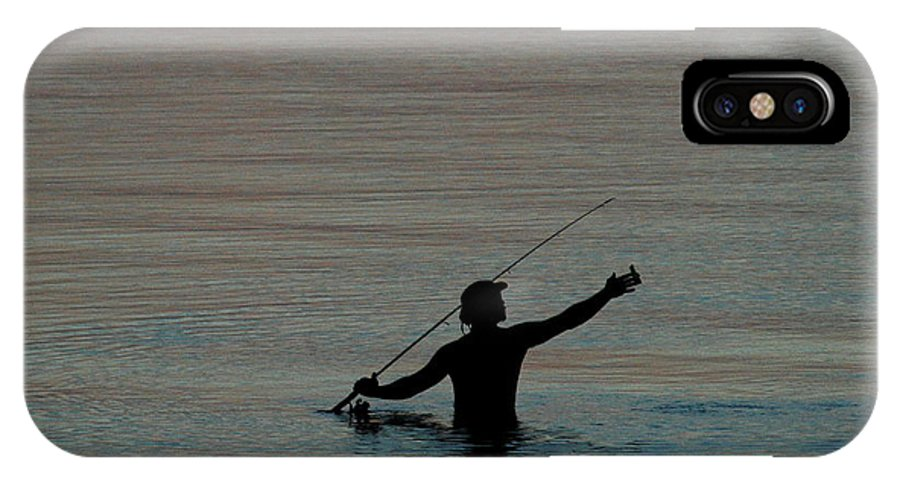 Man IPhone X Case featuring the photograph Evening Fisherman by Teresa Blanton