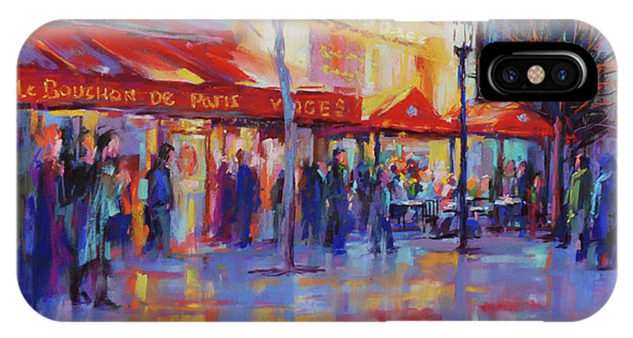 Paris Shopping IPhone X Case featuring the painting Paris Cafe by David Garrison