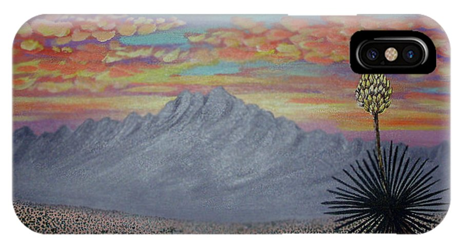 Desertscape IPhone X Case featuring the painting Evening in the Desert by Marco Morales