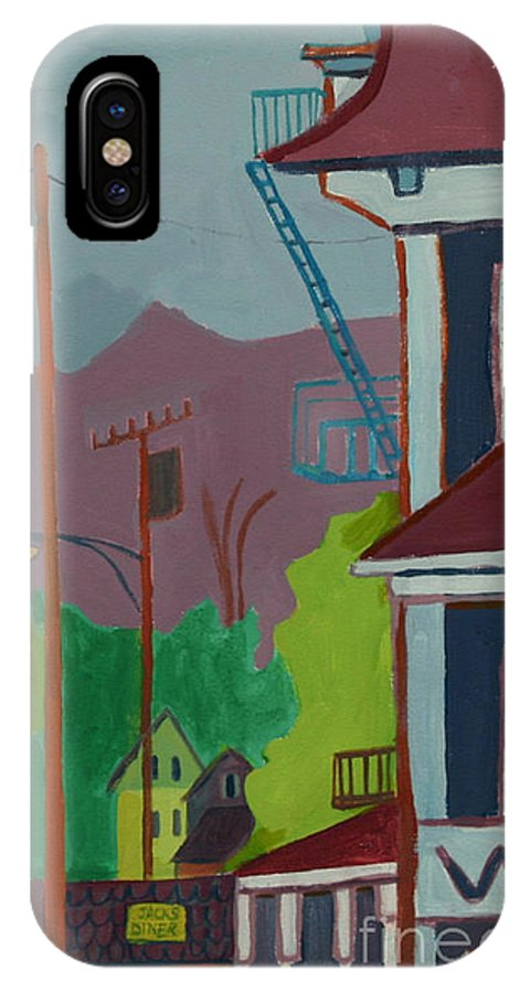 Town IPhone X Case featuring the painting Evening in Town Chelmsford MA by Debra Bretton Robinson