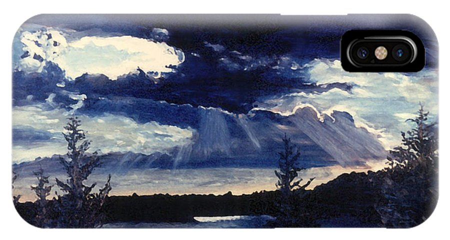 Landscape IPhone X Case featuring the painting Evening Lake by Steve Karol