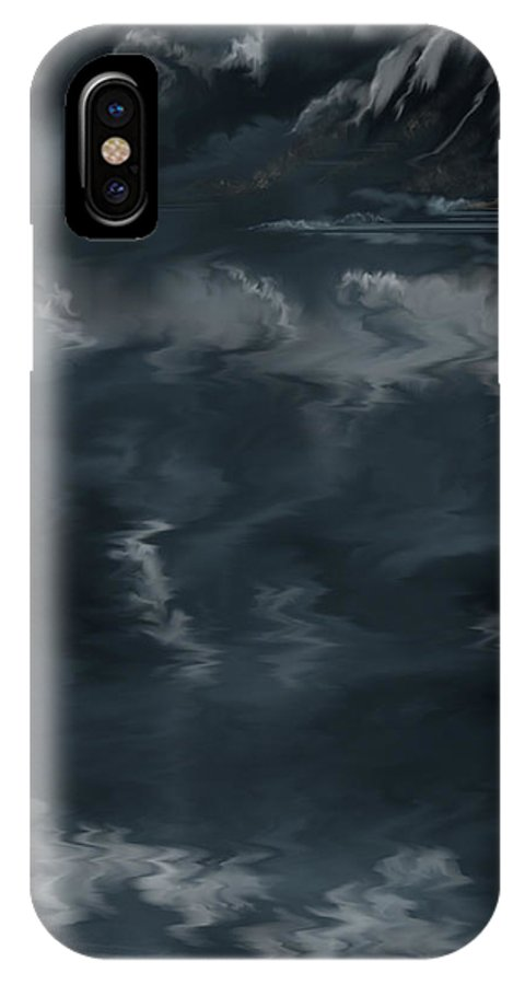 Seascape IPhone X Case featuring the painting Evening Lights and Rocks by Anne Norskog