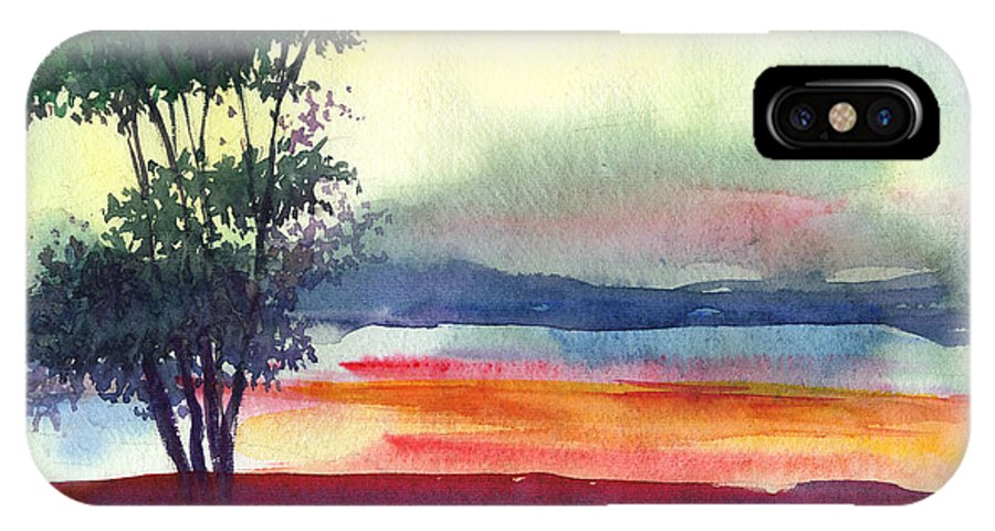 Water Color IPhone X Case featuring the painting Evening Lights by Anil Nene